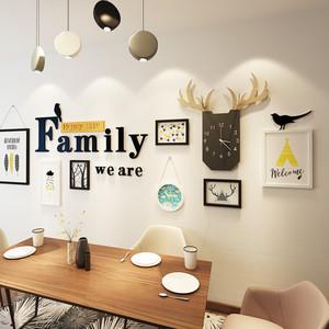 北欧风简约客厅沙发背景墙装饰画组合餐厅大气挂画卧室壁画带挂钟