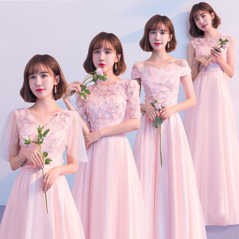 粉色长款伴娘服婚礼伴娘礼服女2019新款秋季冬仙气质显瘦姐妹团裙12-02新券