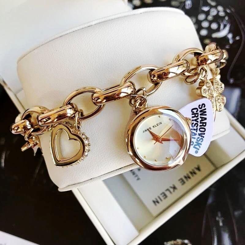 代购Anne Klein时尚潮流气质手镯手链式小表盘挂件女手表7604CHRM