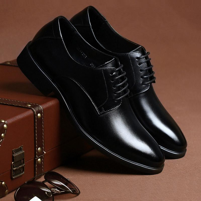 男士商务正装皮鞋男真皮透气英伦系带头层牛皮新郎结婚鞋大码男鞋