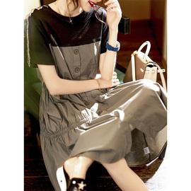 素木撞色拼接连衣裙2020新款夏欧洲站时尚女装a字型宽松减龄裙子