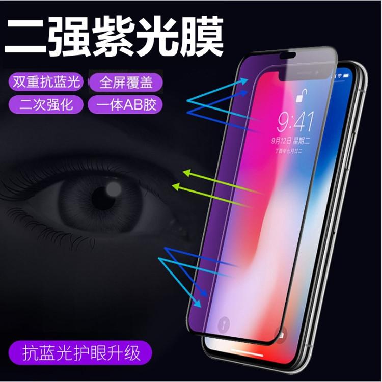 アップル11 ProMax 6 S iPhone 8 XR 7 Plus 2強の紫外線抗ブルーレイフルスクリーン鋼化膜を適用します。
