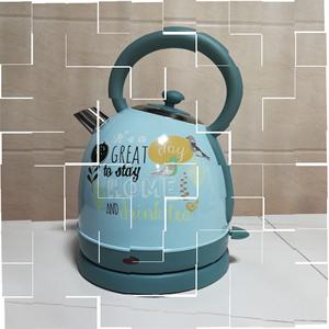 家用电水壶304不锈钢断电可爱热水壶印花烧水壶英国wilko原。