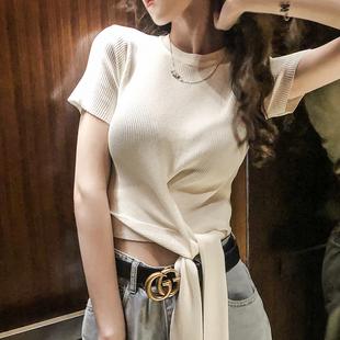 针织衫女短袖绑带新款韩版外搭系带收腰薄款潮泫雅风短款针织上衣
