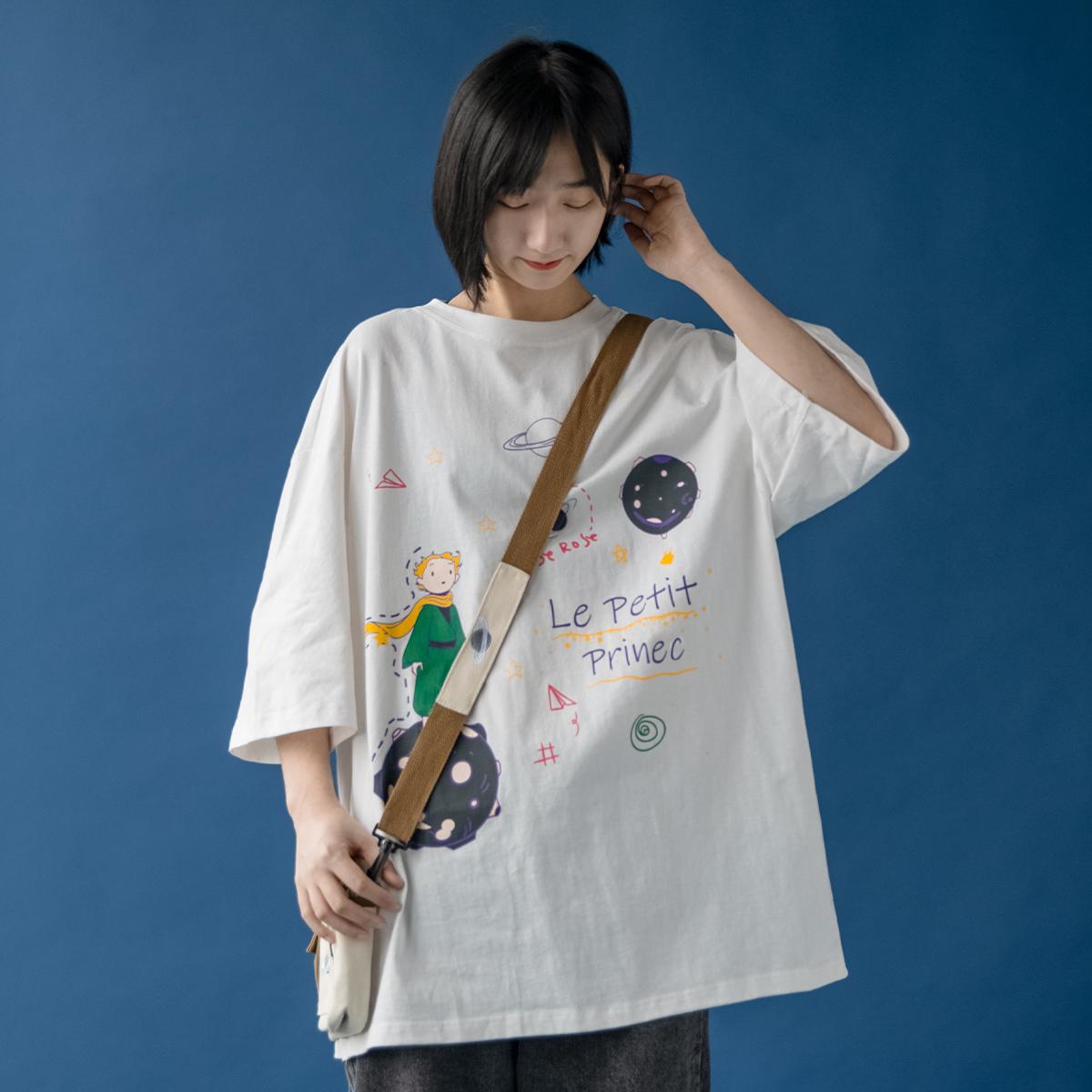 AzLan短袖t恤女2020夏季新款韩版宽松原宿风ins半袖白色学生上衣图片