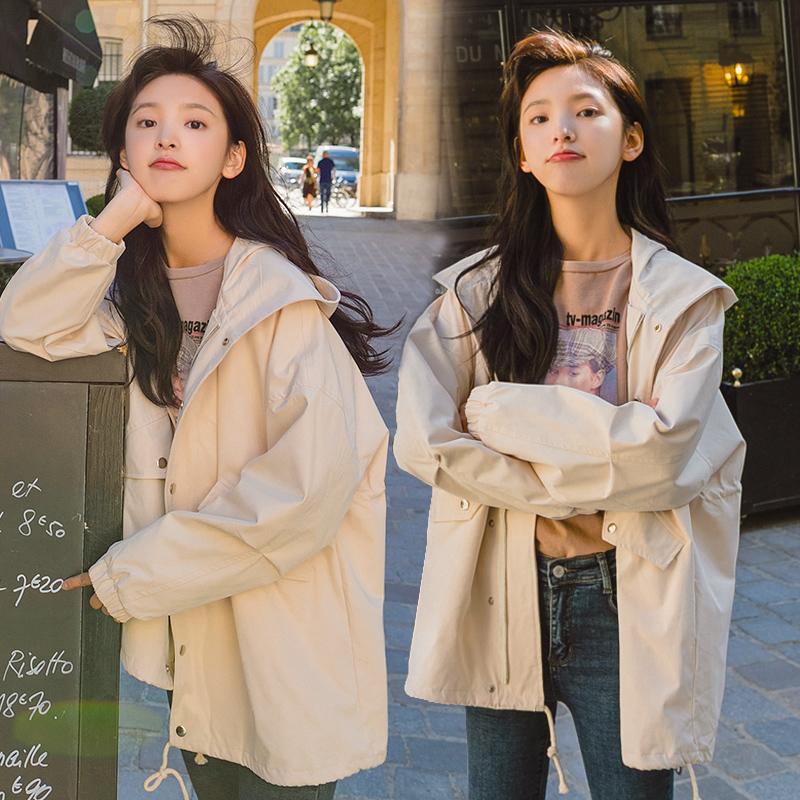 风衣女中长款韩版褂子外套女春秋百搭拼接2020新款短款小个子显瘦