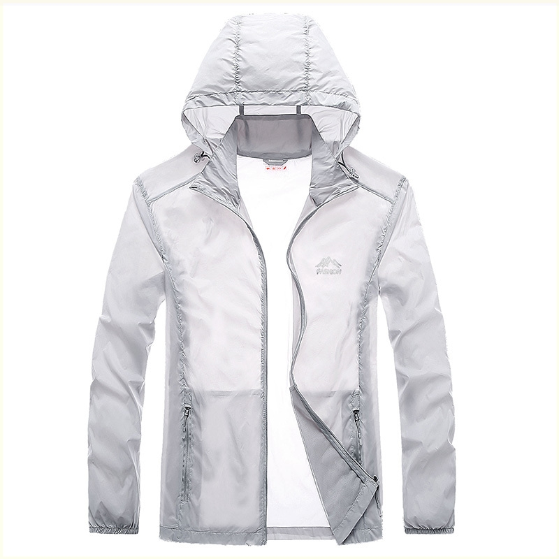 Sun proof clothes mens standing collar no hat summer ultra thin breathable quick drying ice silk coat skin coat Korean sports jacket