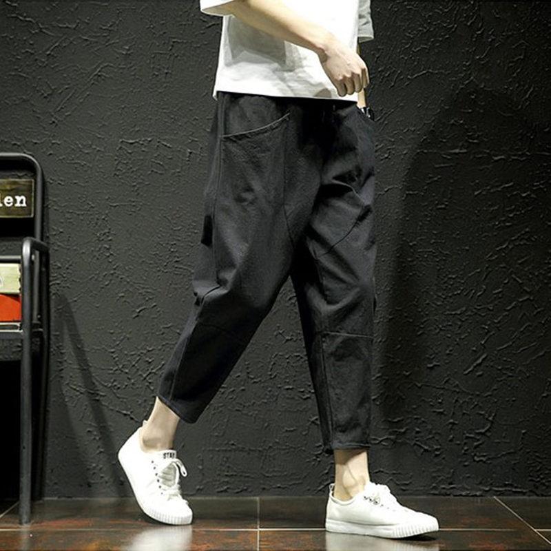 坠感阔腿裤男九分夏薄款宽松直筒潮流休闲棉麻百搭日系bf风八分裤热销221件有赠品