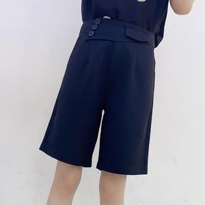 黑色西装短裤女2021春季新款时尚高腰a字薄款韩版显瘦五分阔腿裤