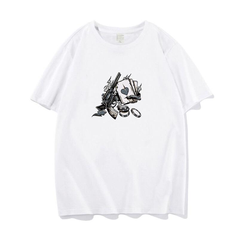 2020新印花短袖T恤男青年小伙夏宽松