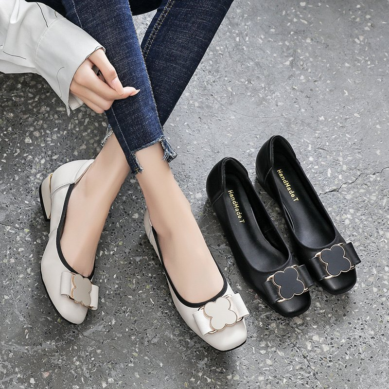 Fashion fashion brand leather single shoes womens soft sole autumn 2021 new shallow versatile fashion boat shoes round head leather