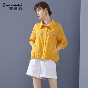 佐幕妮黄色波点衬衫女2020新款夏季纯棉上衣九分袖流行时尚11502