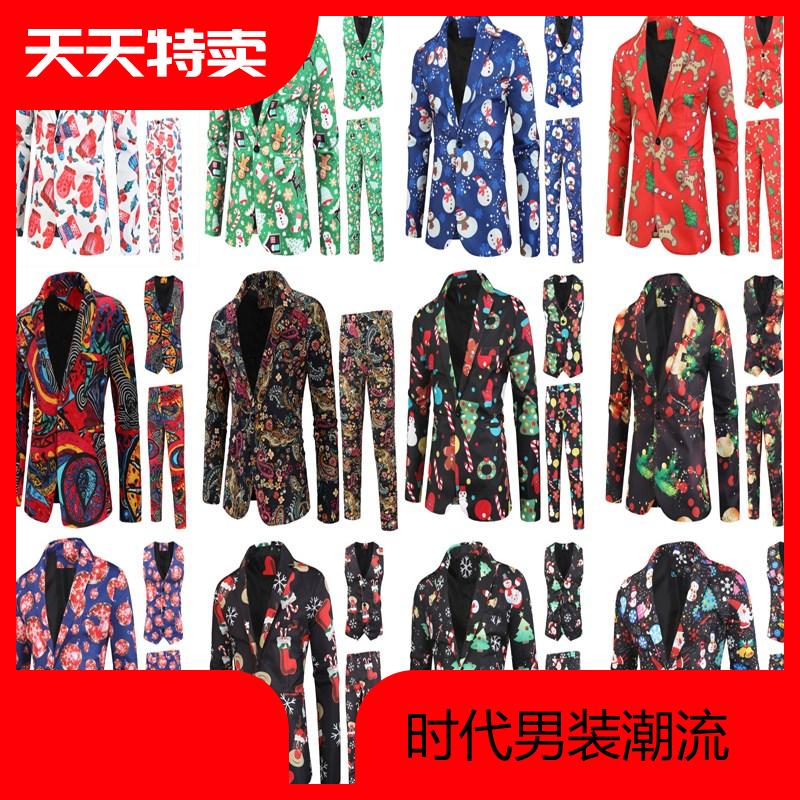 亚麻西服春秋中国风个性中式圣诞套装民族风复古装三件套男装潮牌