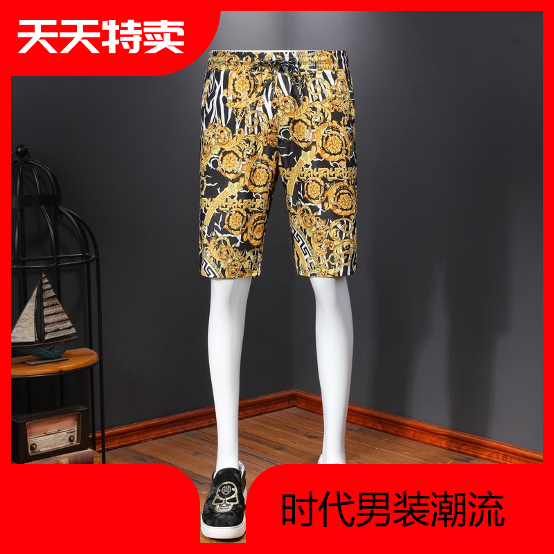 Mens casual shorts retro personalized pattern light luxury thin slide material comfortable fit mens pants summer pants