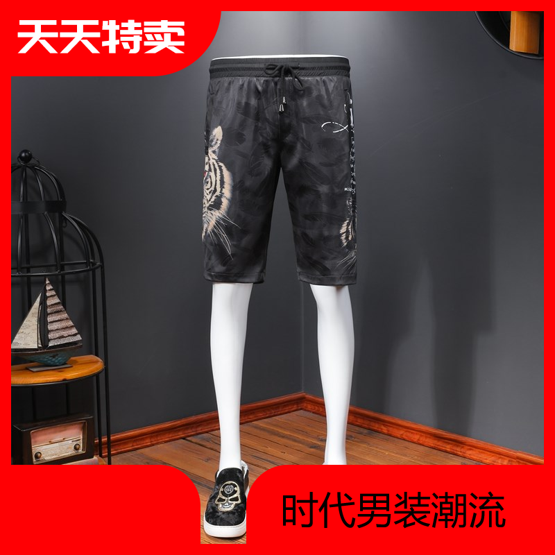Mens Casual Short Sleeve leopard head print elastic tie thin breathable five point mens pants 2020 Summer Youth pants
