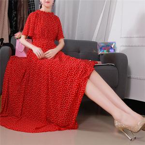 2020新款红色连衣裙子春夏季大码长款雪纺沙滩裙短袖宽松长裙仙女