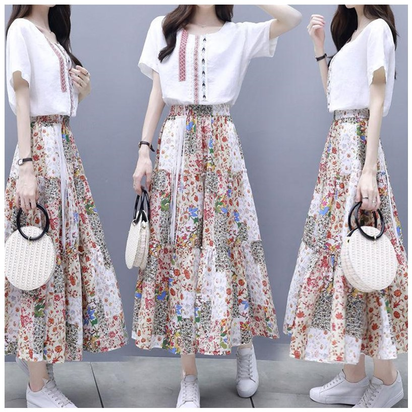 Skirt dress suit women summer fashion 2020 new Korean womens suit dress two piece Fairy Dress Large