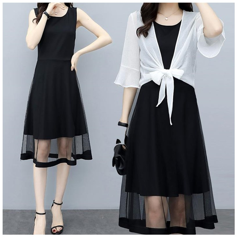 Two piece Chiffon fashion Cape + thin dress 2020 new summer suit belly covering large womens dress