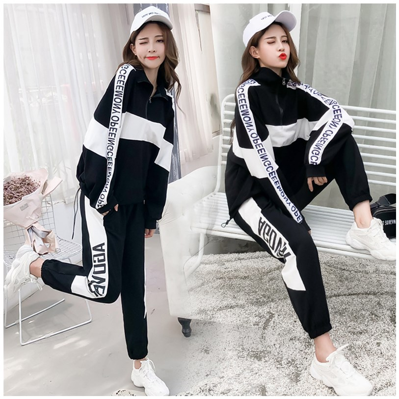 Girls sweater spring 2020 new junior high school students Korean loose, handsome and casual two-piece suit