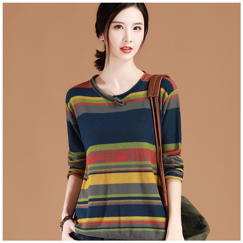 Pullover womens 2020 new spring and autumn loose inside with Korean stripe long sleeve sweater