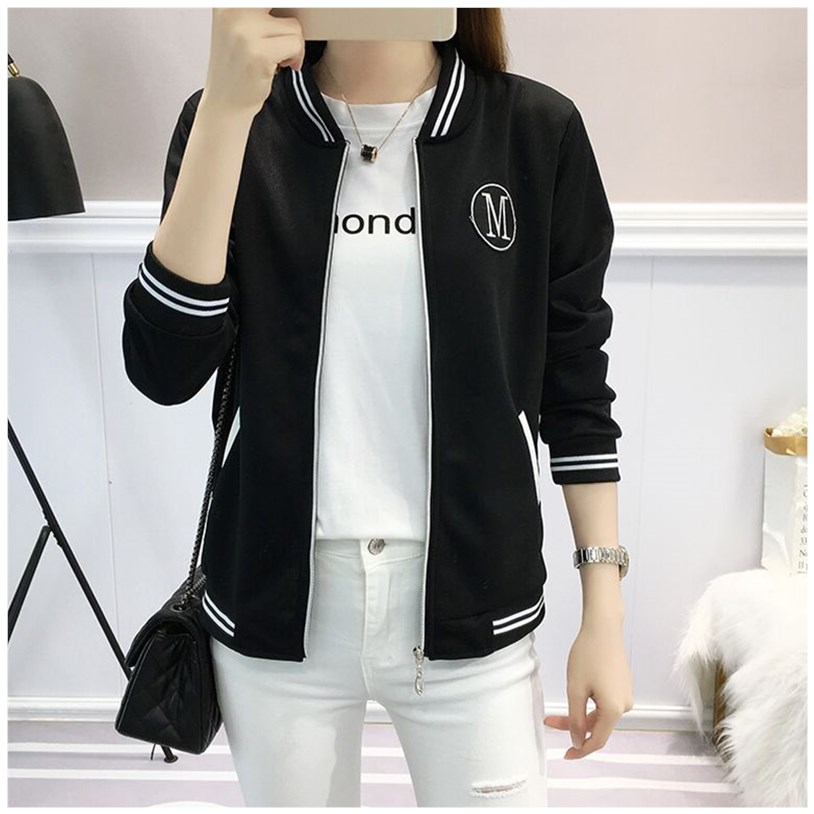 Short bomber womens long sleeve spring and autumn new large loose Baseball Shirt with casual print jacket