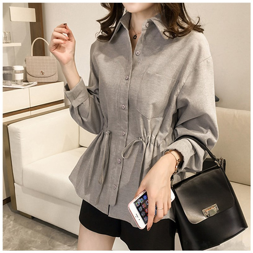 Large womens 2020 spring new fat sister mm Korean temperament close waist show thin shirt top cover stomach small shirt