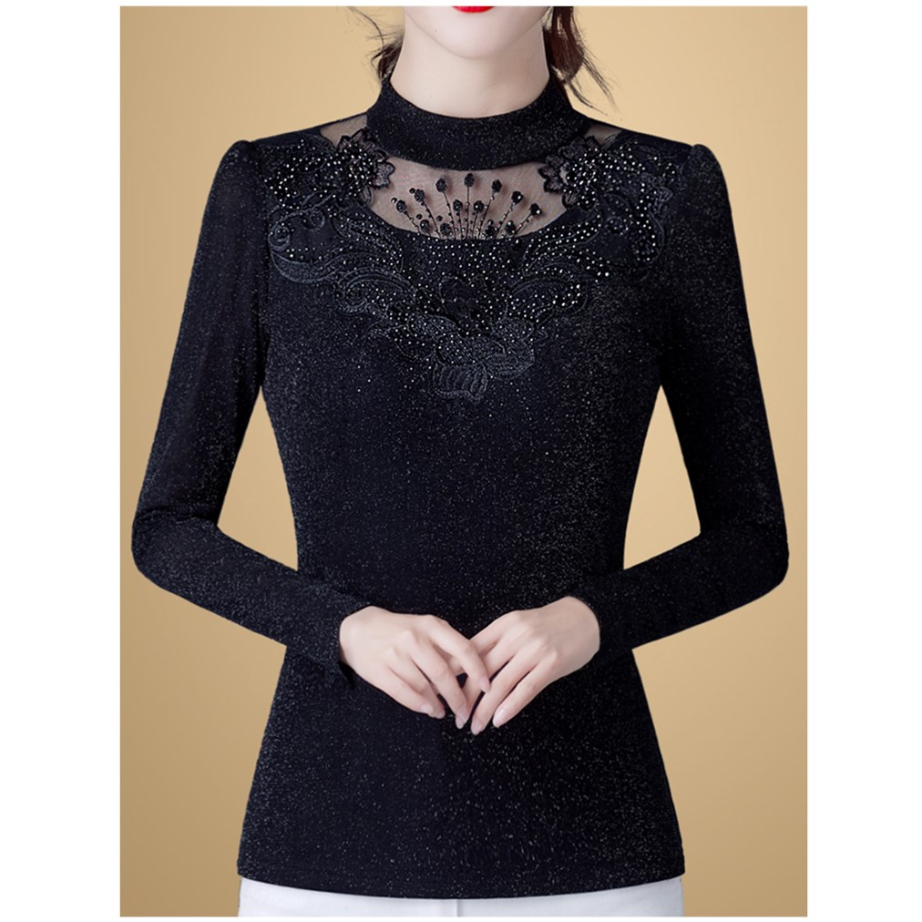 Slim fit small shirt 2020 spring new mesh bottoming blouse womens long sleeve T-shirt with velvet lace top shows thin
