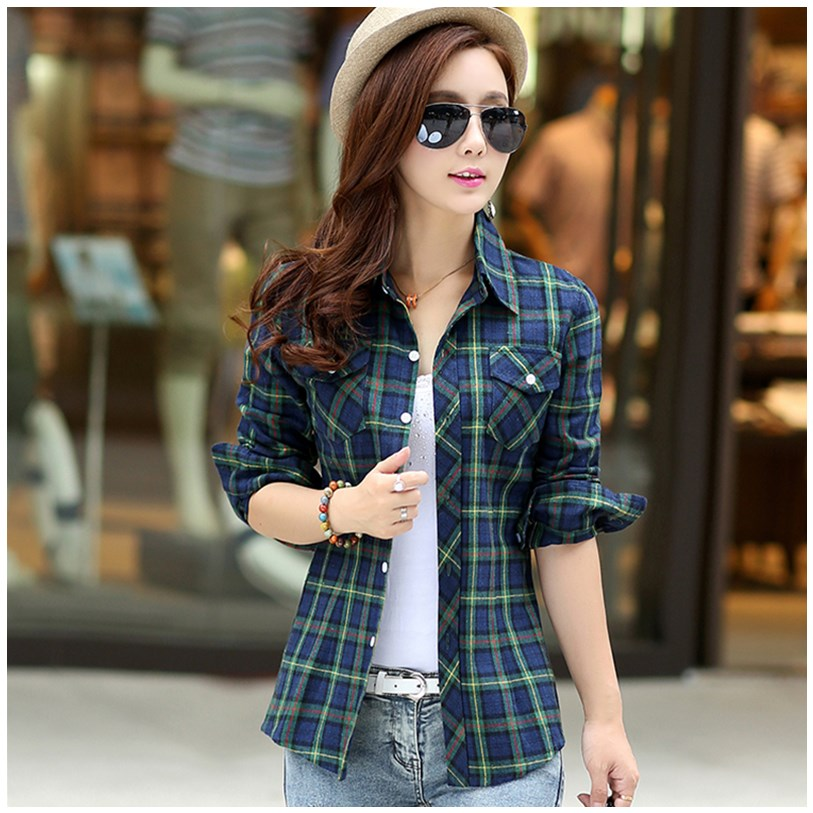 Plaid Shirt womens spring 2020 new RETRO art style long sleeve spring and autumn cotton thin coat