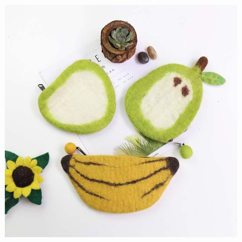 小清新尼泊尔羊毛毡零钱包卡包纯手工缤纷水果香蕉创意女生礼物