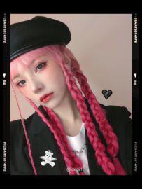 KATGIRL 新品《暴走粉熊》粉色 渐变粉齐刘海整顶假发 原创定制图片