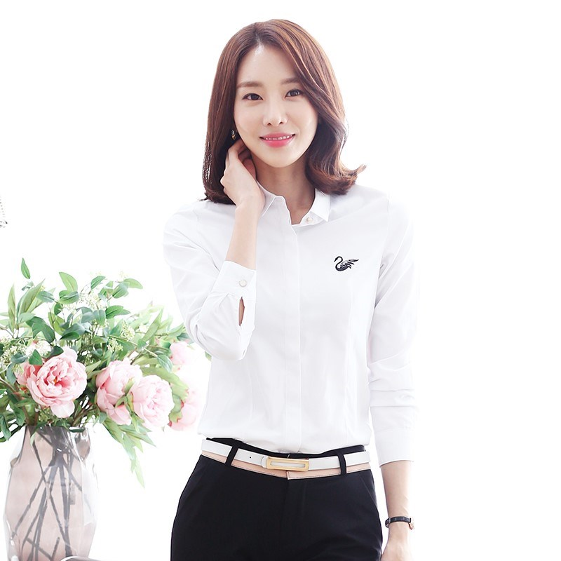 White shirt long sleeve 2018 spring dress new autumn Korean version versatile Hanfan work clothes professional embroidered crane inch clothes