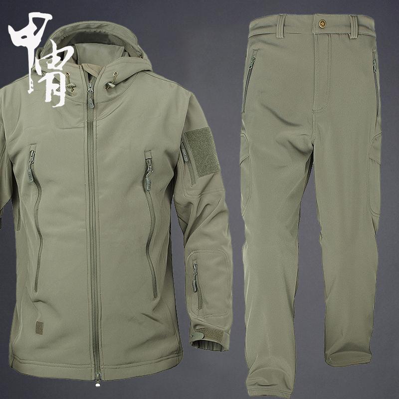 На открытом воздухе куртка брюки костюм мужчина весна , осень, зима два рукава водонепроницаемый рыбалка восхождение одежда дикий иностранных сырье депозит охота скрытая вольт