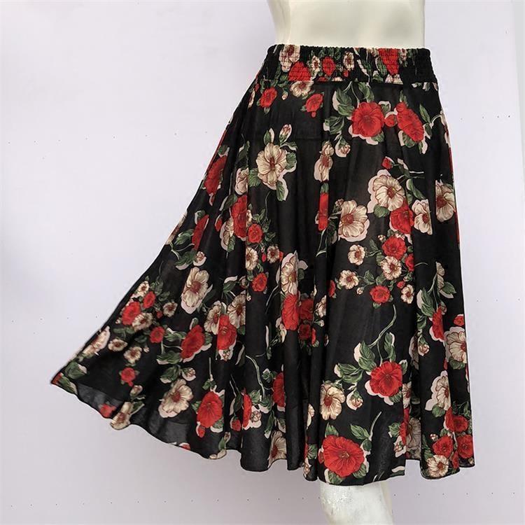 夏中老年女半身裙松紧腰碎花太阳裙60厘米  广场舞冰丝太阳裙