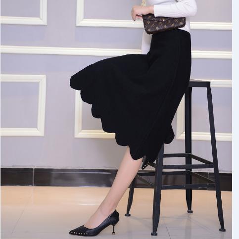 Autumn and winter new knitted large swing skirt skirt half skirt Ruffle lace skirt medium long black