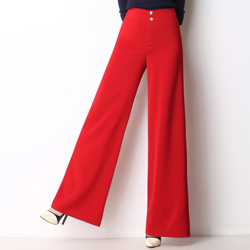2021春のファッション広場の舞垂感ワイドレギンスの高腰はやせています。ストレートのズボンは赤いズボンがあります。