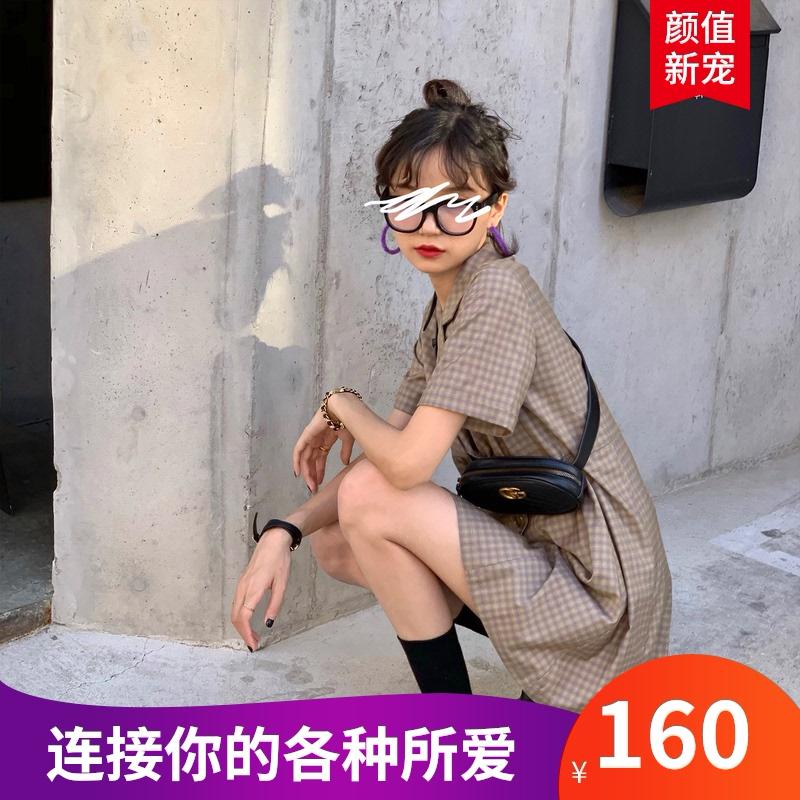 法式新款单件X型2021春款复古双排扣气质收腰字显瘦西装连衣裙夏
