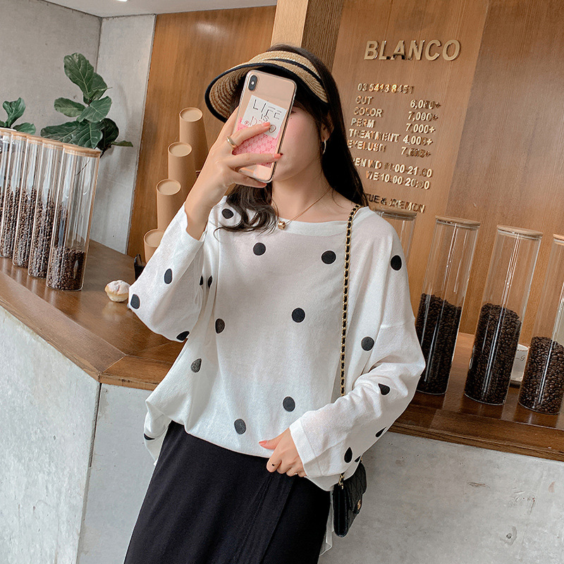 Oversized thin type fat mm200kg spring and summer versatile wave dot dot dot loose show thin lazy style sweater fat person