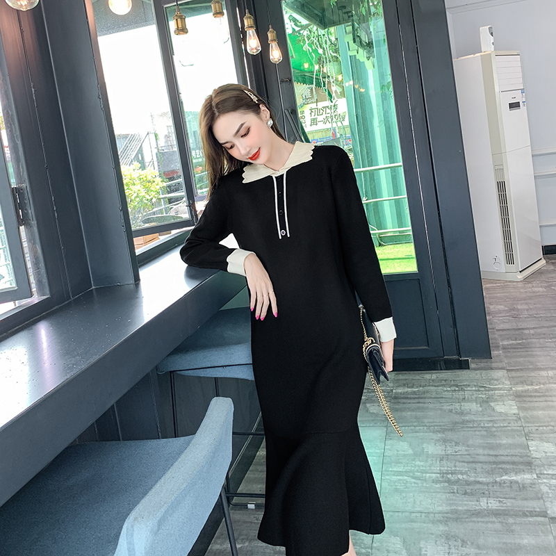 Woolen dress one-piece dress womens autumn and winter color contrast polo collar underlay age reducing Ruffle fishtail long skirt knitted dress