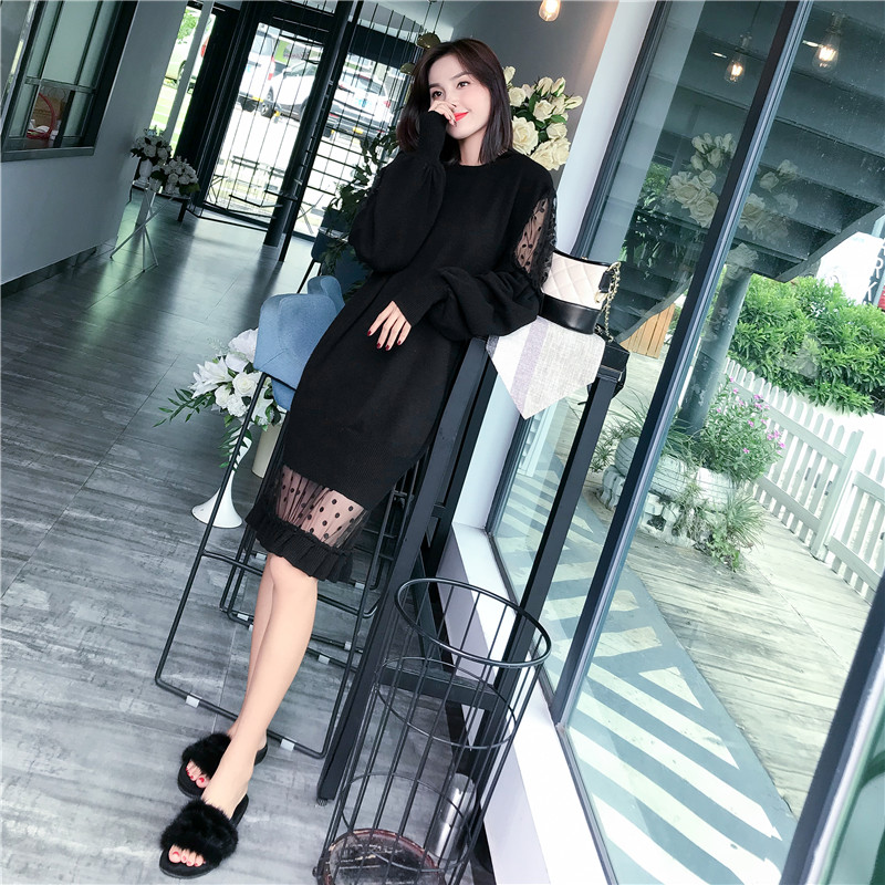 Spring and autumn sexy meat penetrating perspective mesh splicing Lantern Sleeve care machine fishtail wool dress one-piece knitted dress