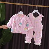 宝宝手工棉衣套装 加厚棉袄棉裤 婴儿纯棉花内胆儿童棉服男女童冬装