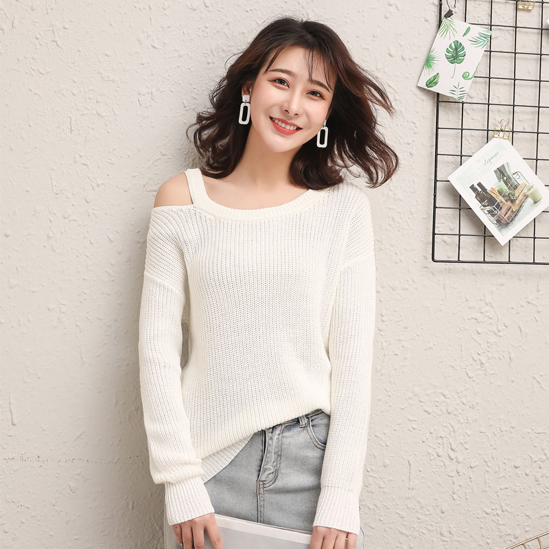 Off shoulder top Japanese sweater 2019 new spring and autumn thin loose long sleeve pillless single shoulder cotton sweater for women