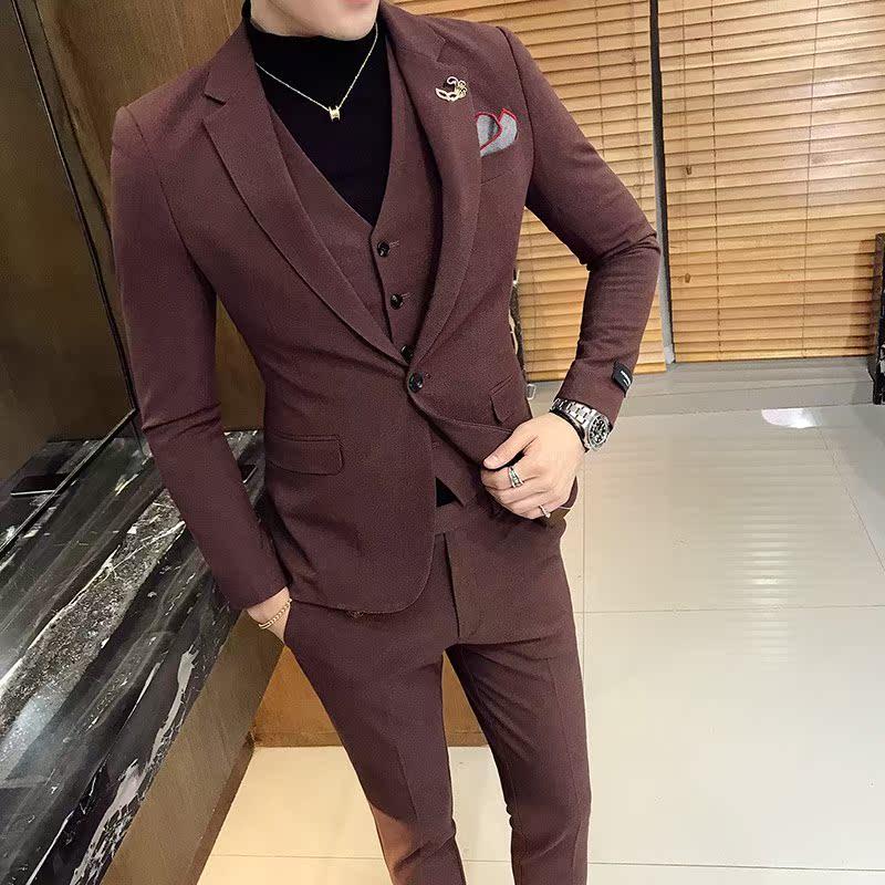 西装套装男士三件套商务职业正装西服韩版修身帅气新郎结婚礼新款