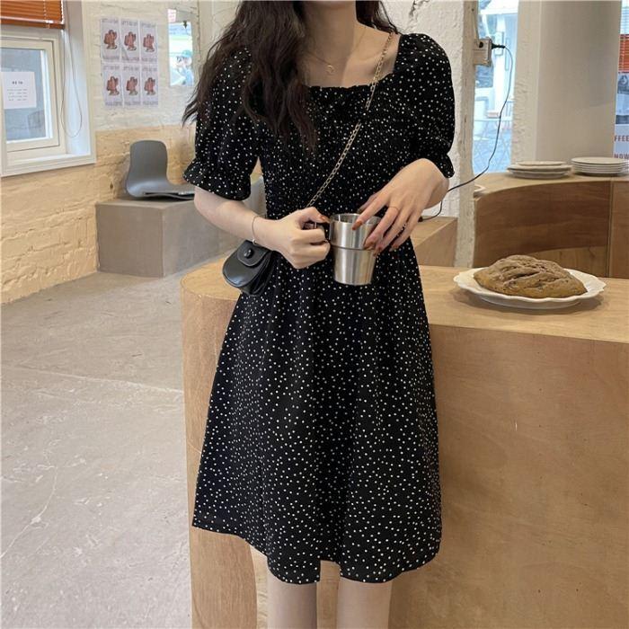 夏季2021新款韩版法式复古裙气质收腰小黑裙显瘦短袖连衣裙女学生