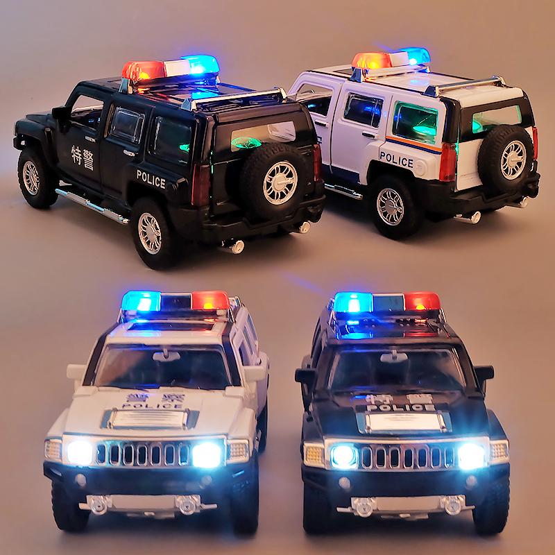 高档玩具车模型小汽车合金儿童警察车玩具仿真金属男孩警车开门h3
