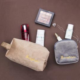 丝绒化妆包小号便携口红旅行大容量北欧ins迷你小样化妆品收纳袋