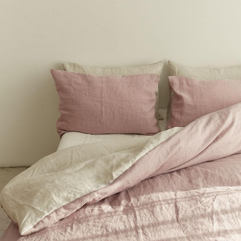 艺术家都爱Dusty Pink纯亚麻四件套柔软水洗全麻简约纯色床上用品
