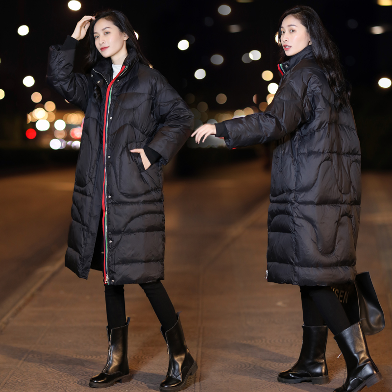 2021 new Korean collar loose over knee down jacket womens large medium length coat warm white duck down clearance