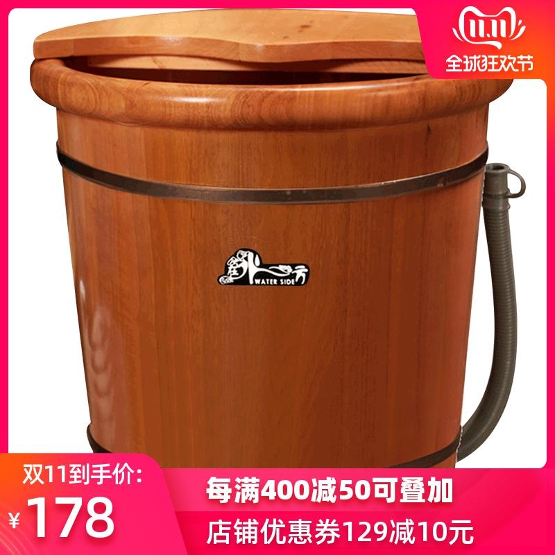 精品橡木足浴桶高深桶泡脚木桶家用洗脚盆过膝女泡脚桶木质过小