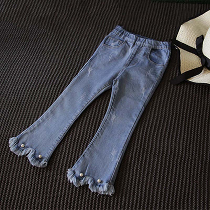 Girls coughing pants flared jeans Pu style summer and Korean childrens foreign style seven point pull-out pants NABA Baku