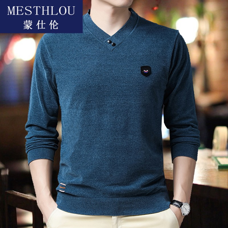 Young and middle aged chenille long sleeve t-shirt mens autumn thin solid color V-neck bottoming top trend with jh0923